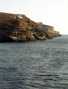 Picture of one of the Cyclades islands seen while on the ferry from Athens to Mykonos