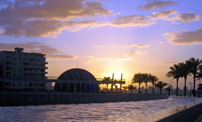 Picture of a sunset at the library of Alexandria in Egypt