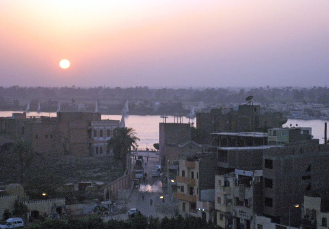 Picture of the sunset over the Nile and Luxor, Egypt