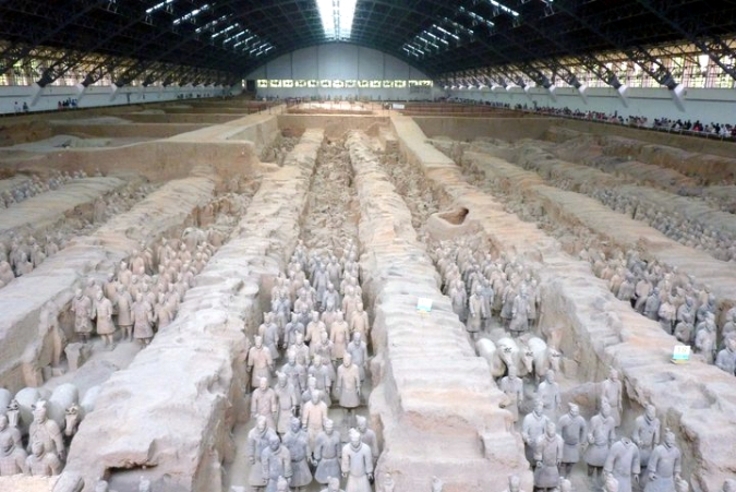 Picture of the first pit housing the Terracotta Army in Xian China