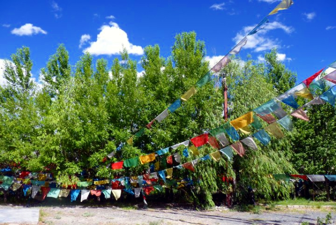 Picture of Tibetan prayer flags on the road to Lhasa