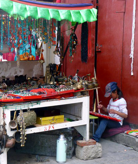 Picture of Vendor on Barkhor Street in Lhasa, Tibet