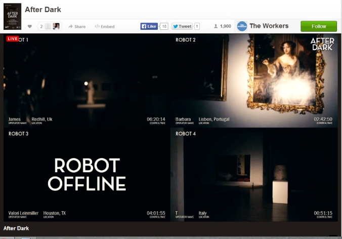 Picture of the After Dark robot views at Tate Britain