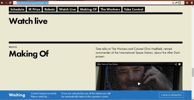 Picture of the After Dark website at Tate Britain