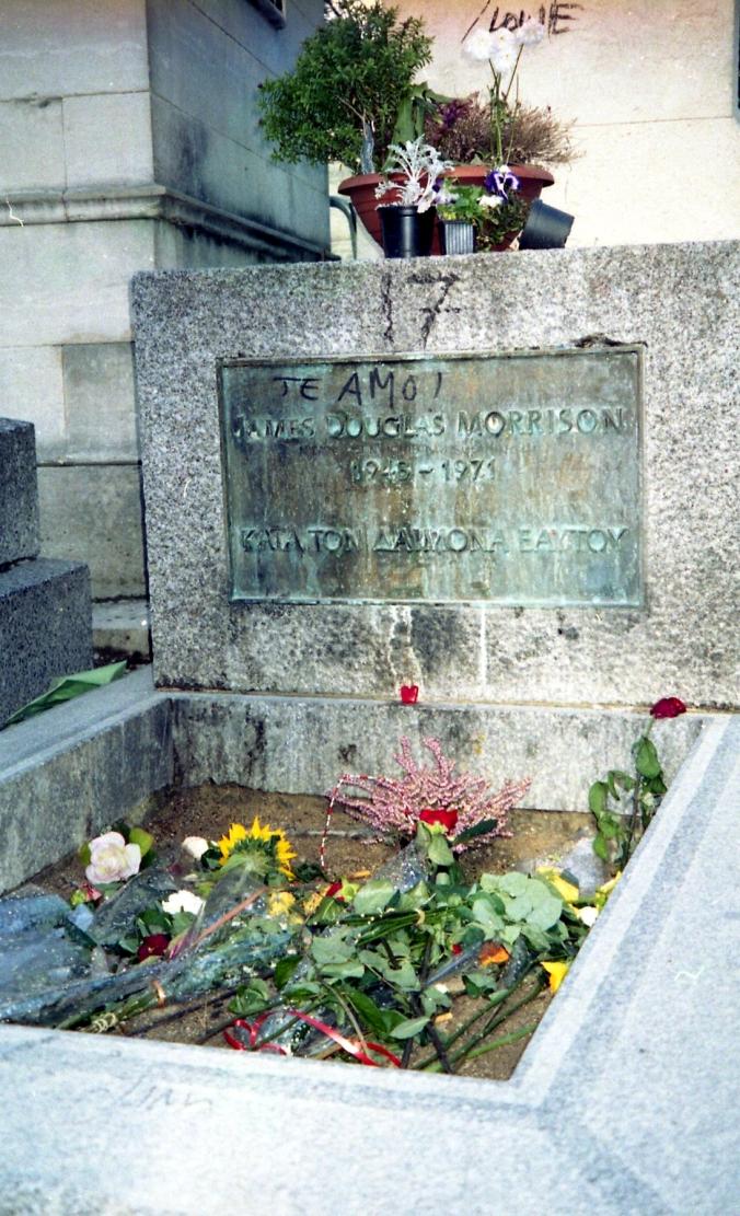 Jim Morrison's grave in Père Lachaise Cemetery, Paris, France