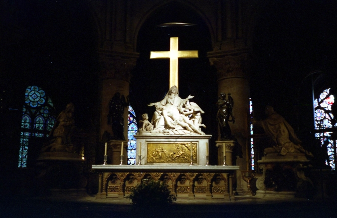 Picture of the altar pieta in Notre Dame, Paris, France