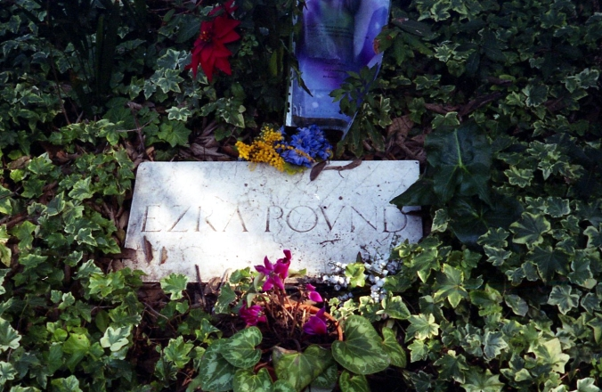 Picture of Ezra Pound's grave at Isola di San Michele in Venice, Italy