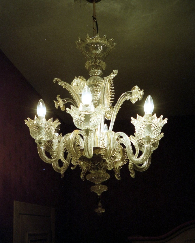 Picture of glass chandelier made in Murano, Italy