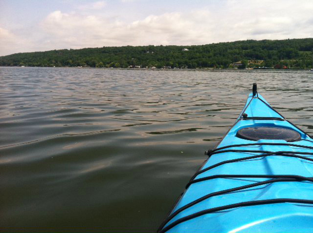 picture of kayak on Cayuga Lake near Ithaca, New York
