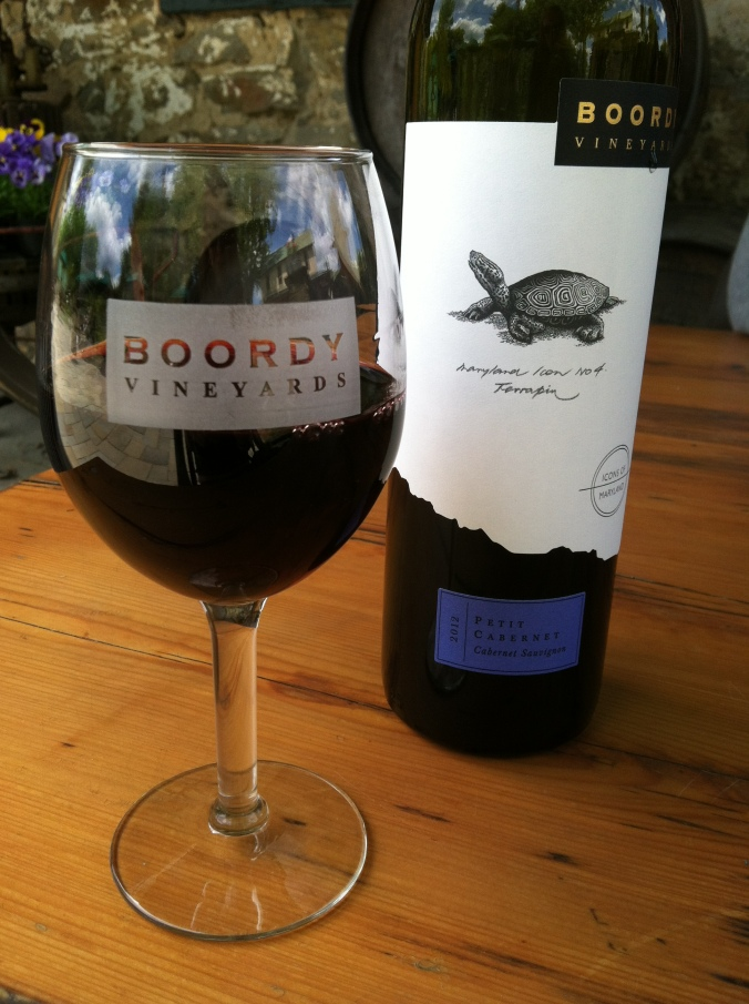 Picture of glass of wine from Boordy Vineyards in Maryland