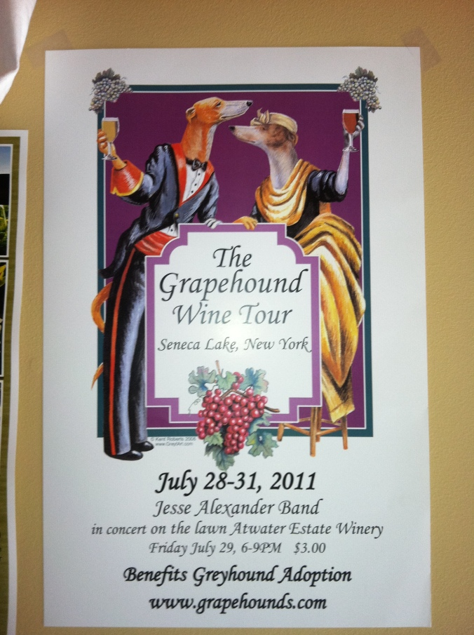 Picture of a grapehound wine tour poster found in upstate New York