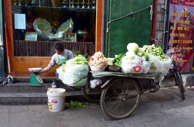 Picture of vegetable vendor in Lhasa, Tibet