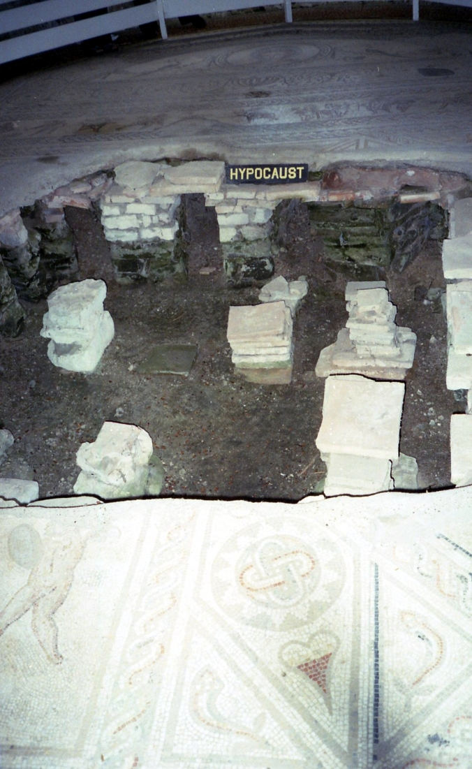 Picture of the hypocaust at Bignor Roman Villa in Sussex, England