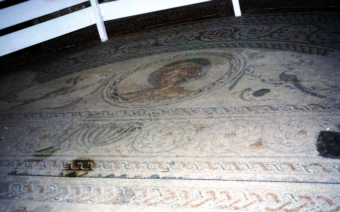 Picture of mosaic floors at Bignor Roman Villa in Sussex, England