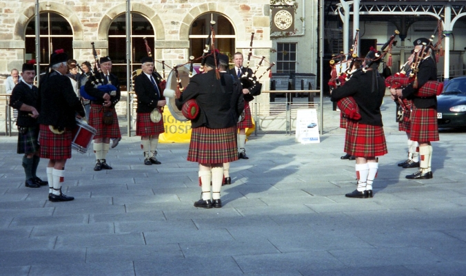 Picture of bagpipe players in Inverness, Scotland