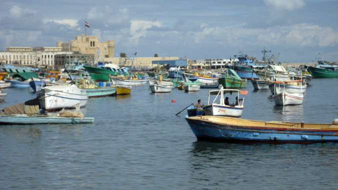 Picture of Alexandria's harbor in Egypt