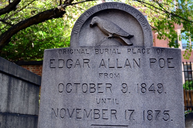 Picture of Edgar Allan Poe's (original) grave in Baltimore, Maryland