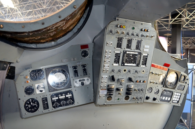 Picture of inside of Gemini capsule at Goddard Space Flight Center in Greenbelt, Maryland