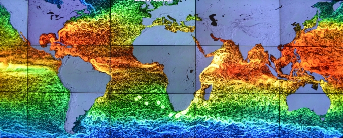 Picture of map of ocean currents and temperatures seen at Goddard Space Flight Center in Greenbelt, Maryland, USA
