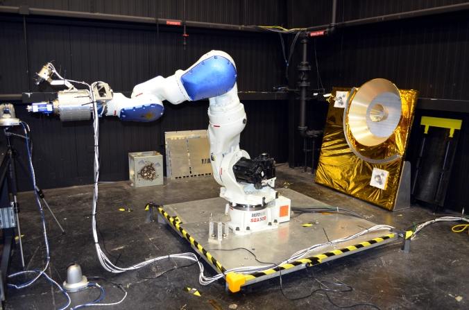 Picture of Robotic arm being developed to service satellites at the Servicing Technology Center at Goddard Space Flight Center in Greenbelt, Maryland, USA