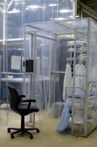 Picture of small cleanroom inside of the Satellite Testing and Integrartion Facility at Goddard Space Flight Center in Greenbelt, Maryland, USA